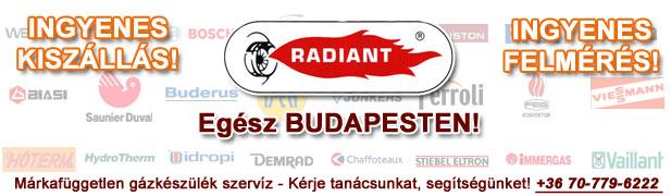 radiant gázkészülékek javítása, szervíze, karbantartása, cseréje